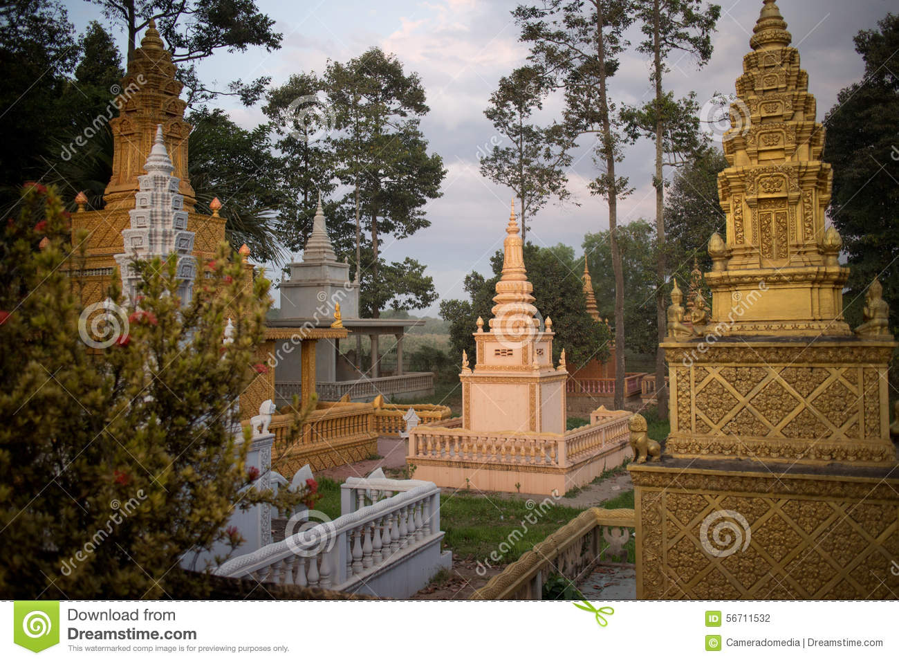 Old Temple Cemetary and Wat at Dusk in Asia