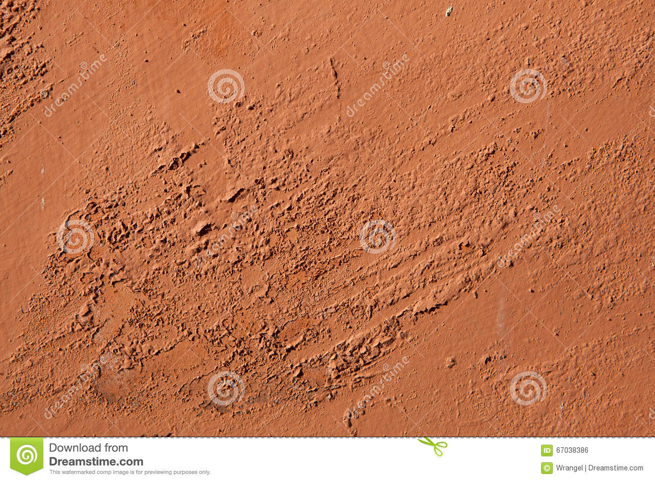 Old Terracotta Painted Stucco Wall With Chipped Paint Backgroun Stock Photo