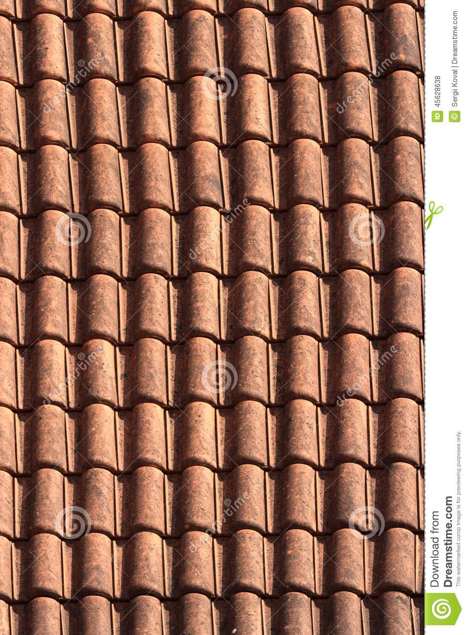 Old Terracotta Tile Roof Close Up Background Vertical Stock Photo