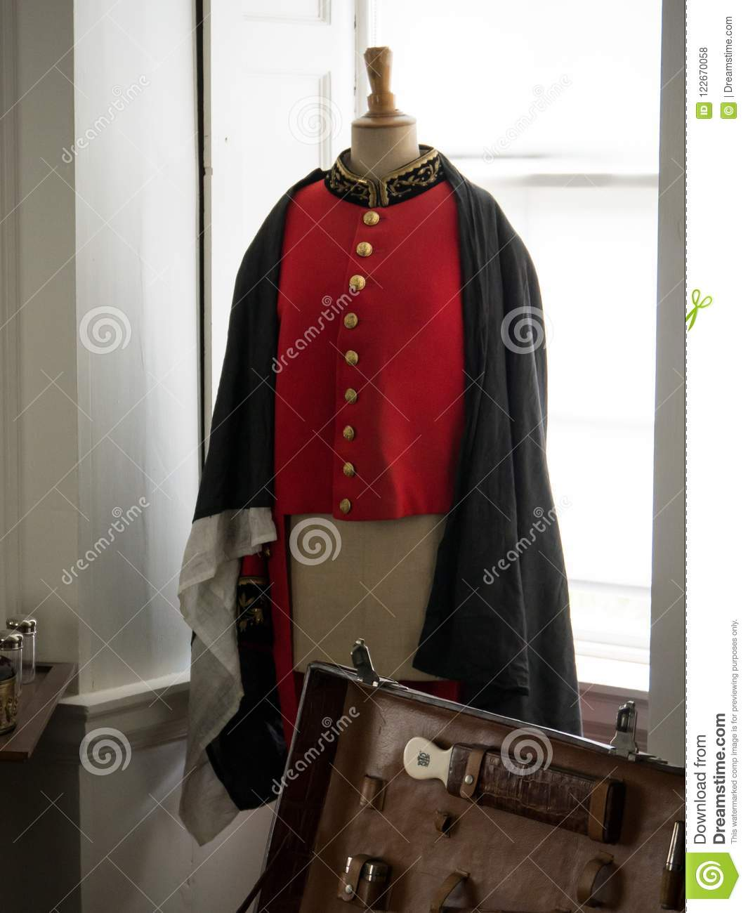 Old 19th Century Red British Military Uniform Jacket With