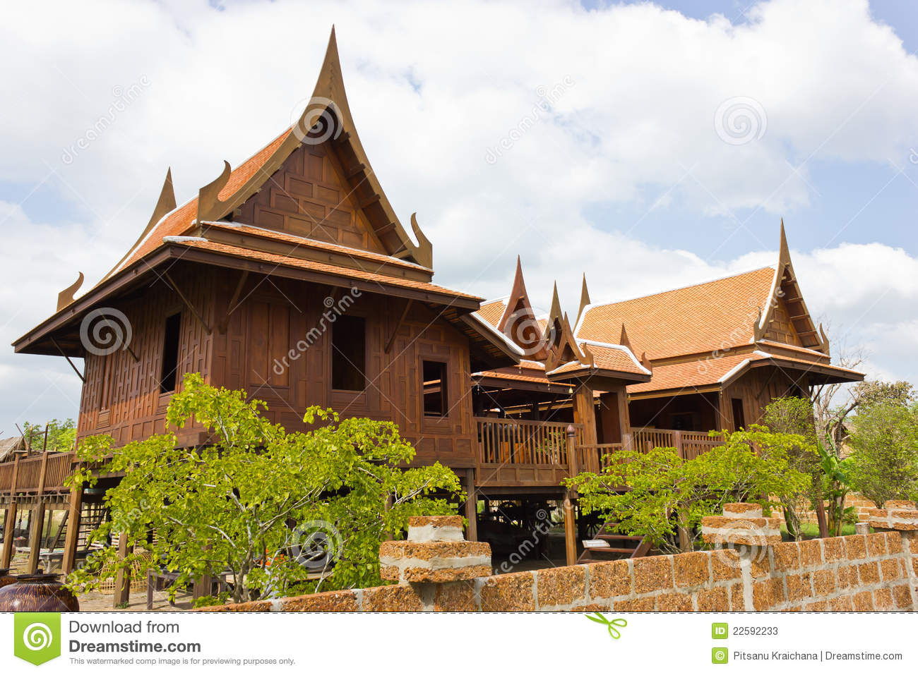 Old thai house stock image image of design wood for Thai classic house