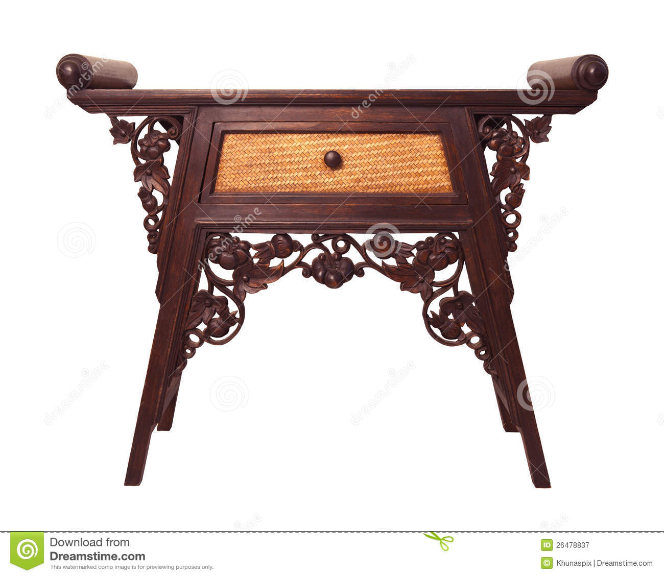 Old Thai Wood Furniture Desk Isolated White Royalty Free Stock Photography Image 26478837