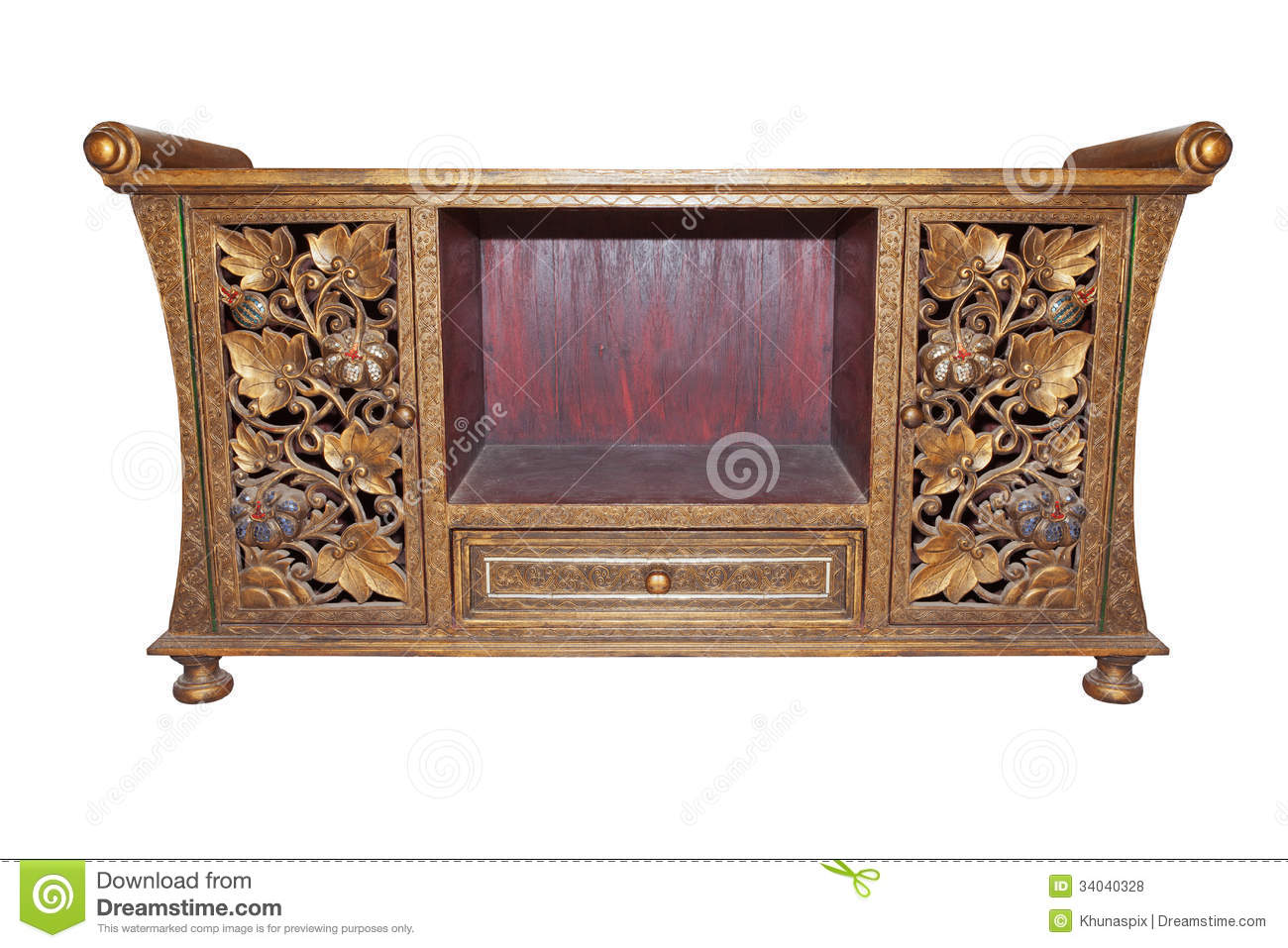 Old Thai Wood Furniture Desk Isolated White Royalty Free Stock Photos Image 34040328