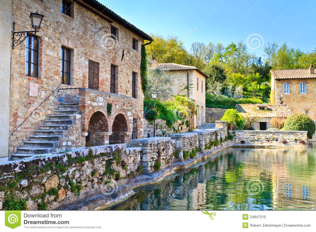Old Thermal Baths In Bagno Vignoni, Tuscany Royalty Free Stock Photo - Image:...