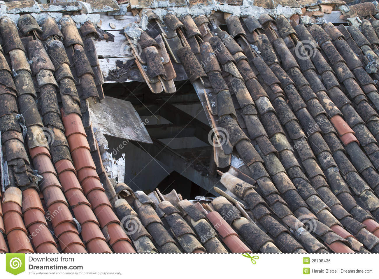Old Tiled Roof With A Large Hole Stock Photo Image Of