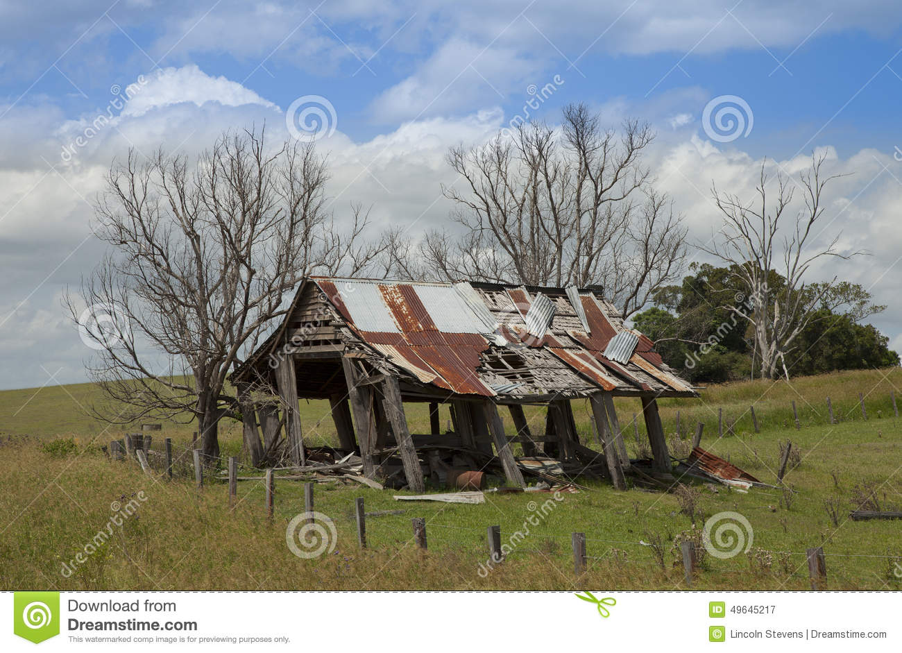 an old timber shed leaning over stock image image of junk
