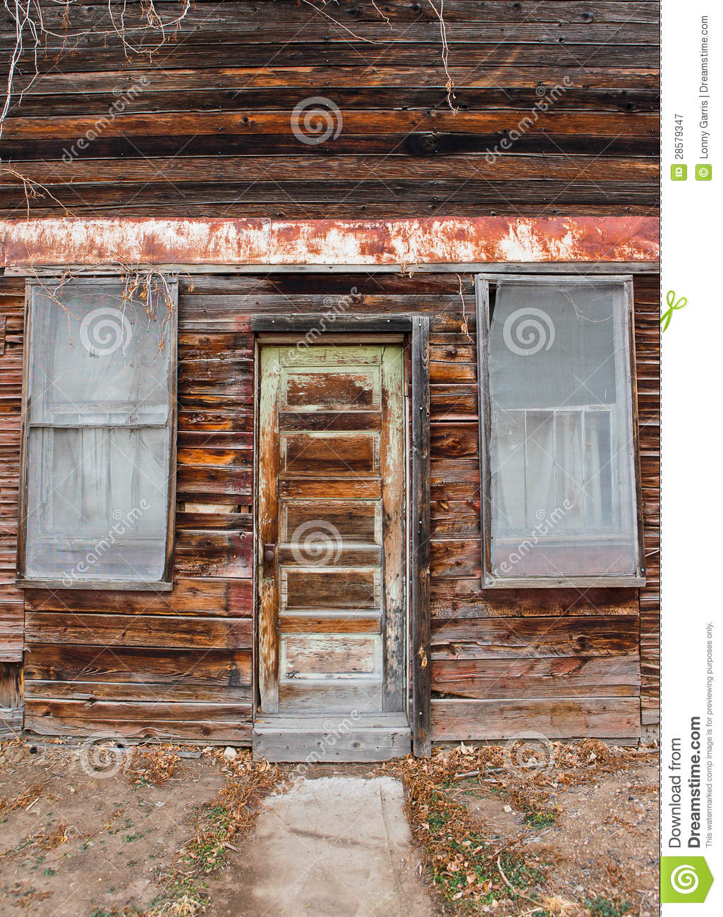 Old time grocery door and window royalty free stock