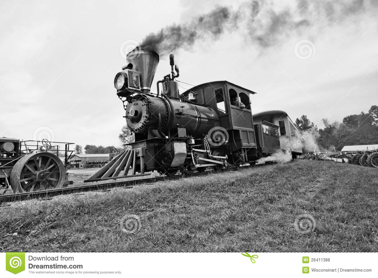 Old time steam train vintage locomotive. Black and white image of an ...