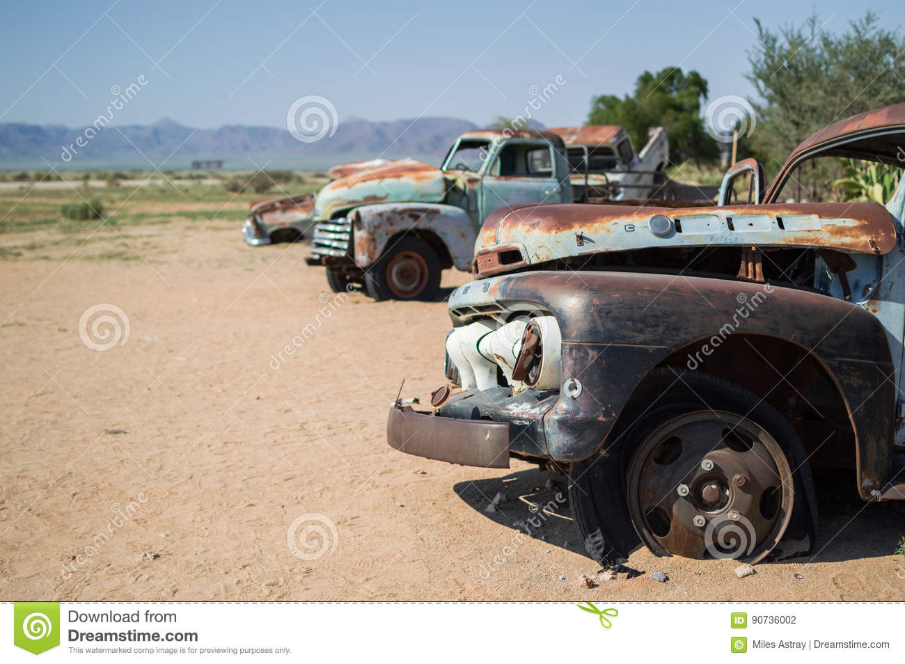 Old Timer Car Wrecks In A Desert Landscape In Solitaire, Namibia ...