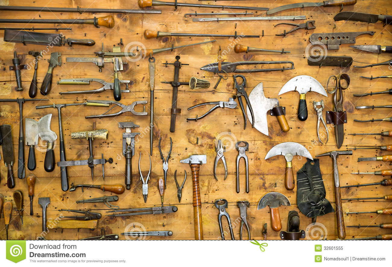Old Tools On The Wall Stock Image. Image Of Scissors