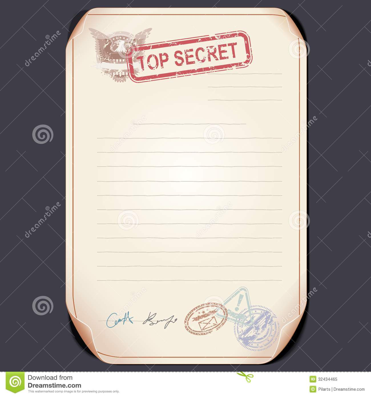 Old Top Secret Document On Table. Vector Template Royalty Free ...