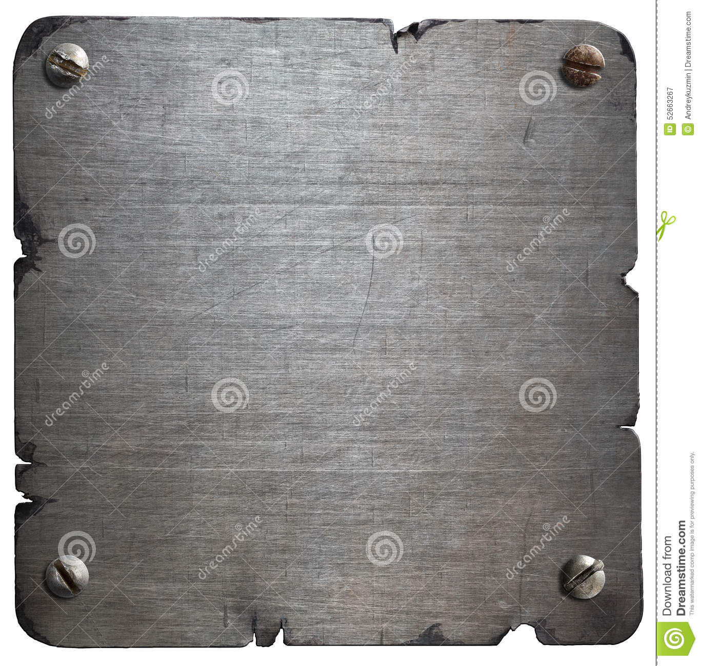Old Torn Metal Plate With Bolts Isolated Stock Photo