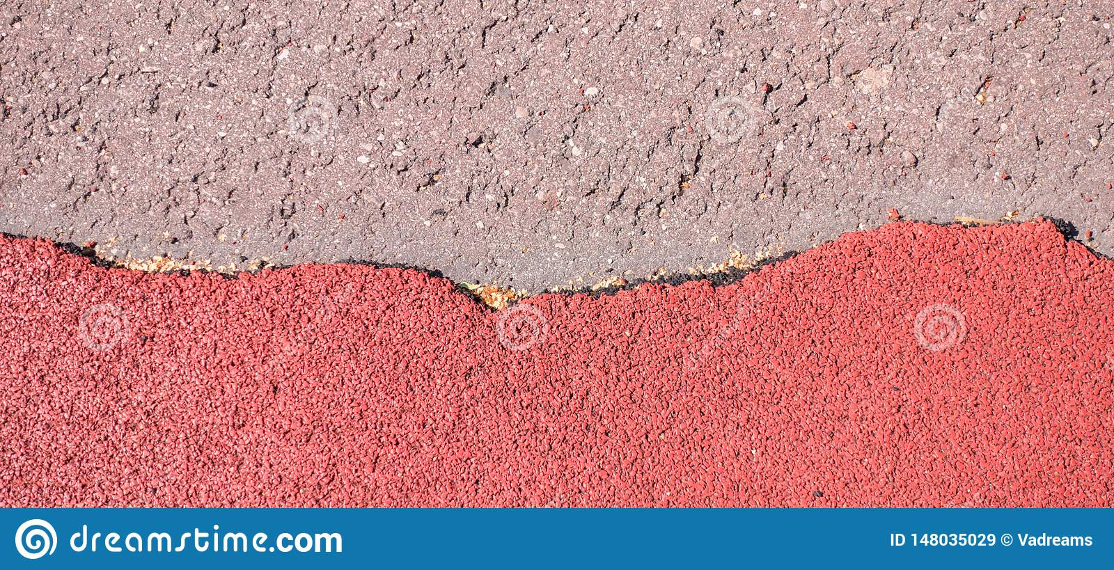 Old torn red rubber crumb cover, treadmill or running track surface outdoor playground stadium texture background.