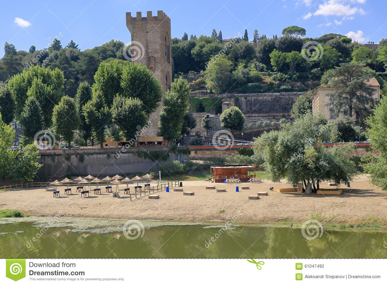 Old Tower And Beach On Arno River In Florence Italy Stock Photo