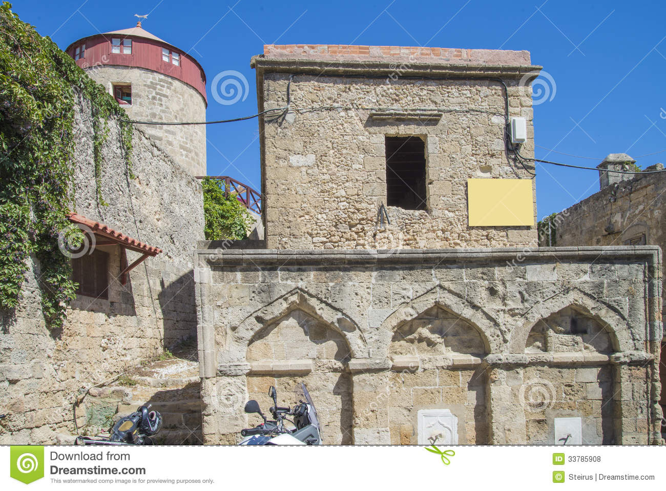 Old tower house in the old town of rhodes royalty free - The house in the old franciscan tower ...