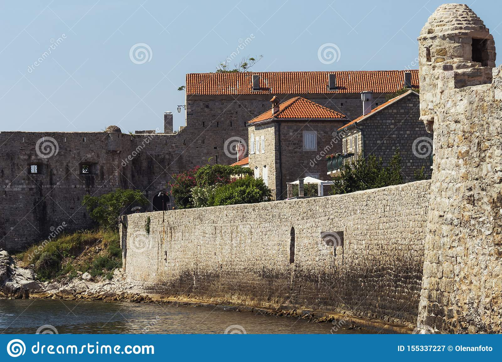 Old Town Budva, Montenegro. The view at the medieval citadel and the old town of Budva. Soft focus