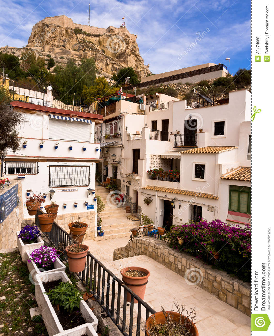 Old town and castle in alicante spain editorial stock for Tiny house santa barbara