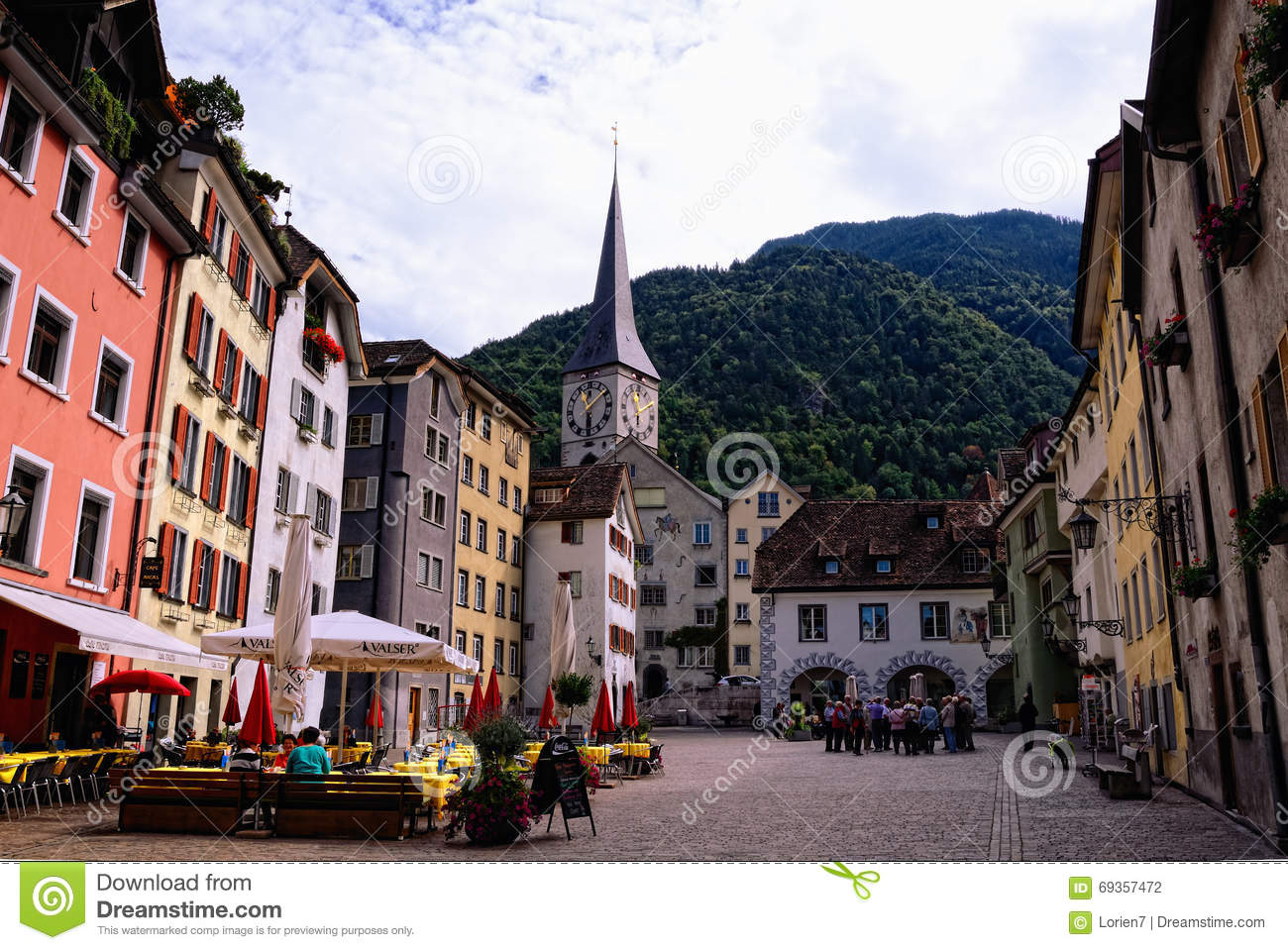 Old Town in Chur (Switzerland). Arcas Square and St. Martin s Church