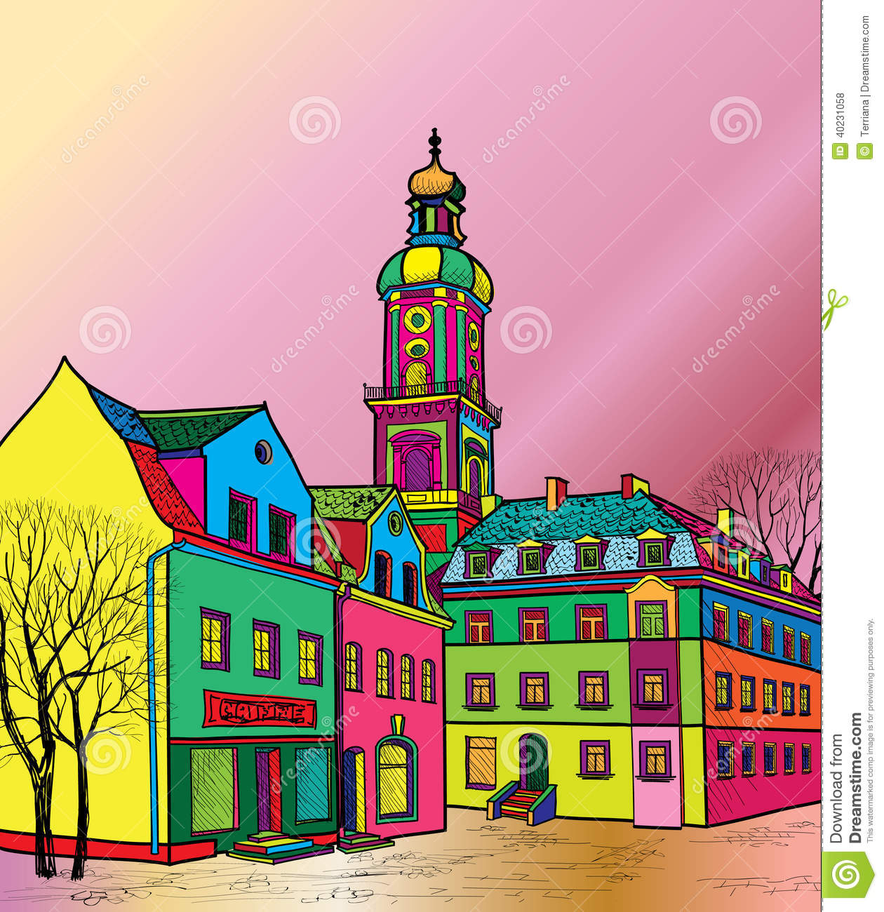 Old town cityscape with street sketch of historic for Funky house artists