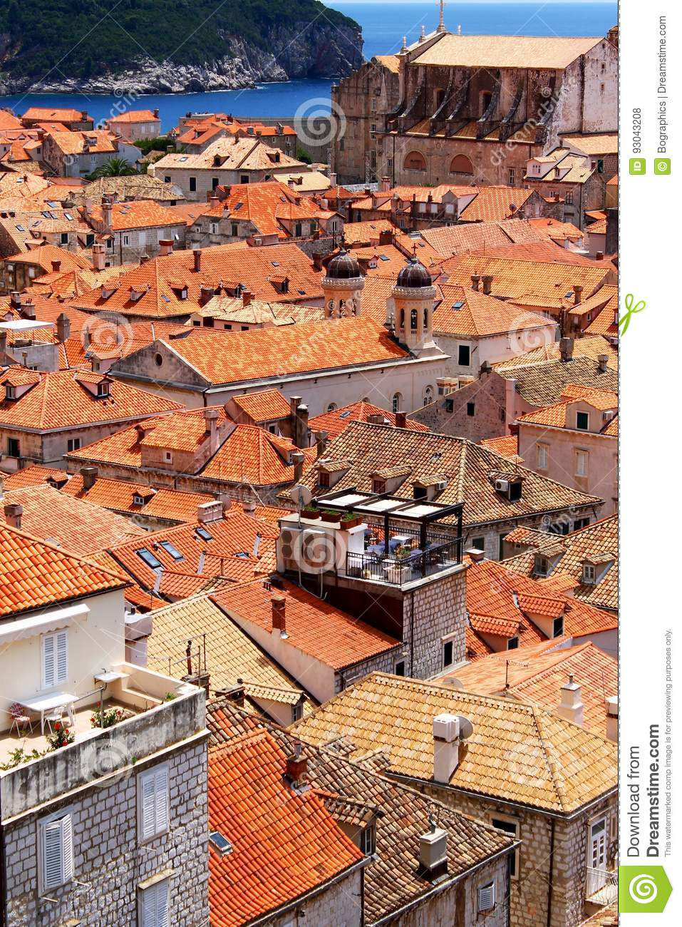 Download Old Town Of Dubrovnik Near The Sea, Portrait Stock Photo - Image of travel, town: 93043208
