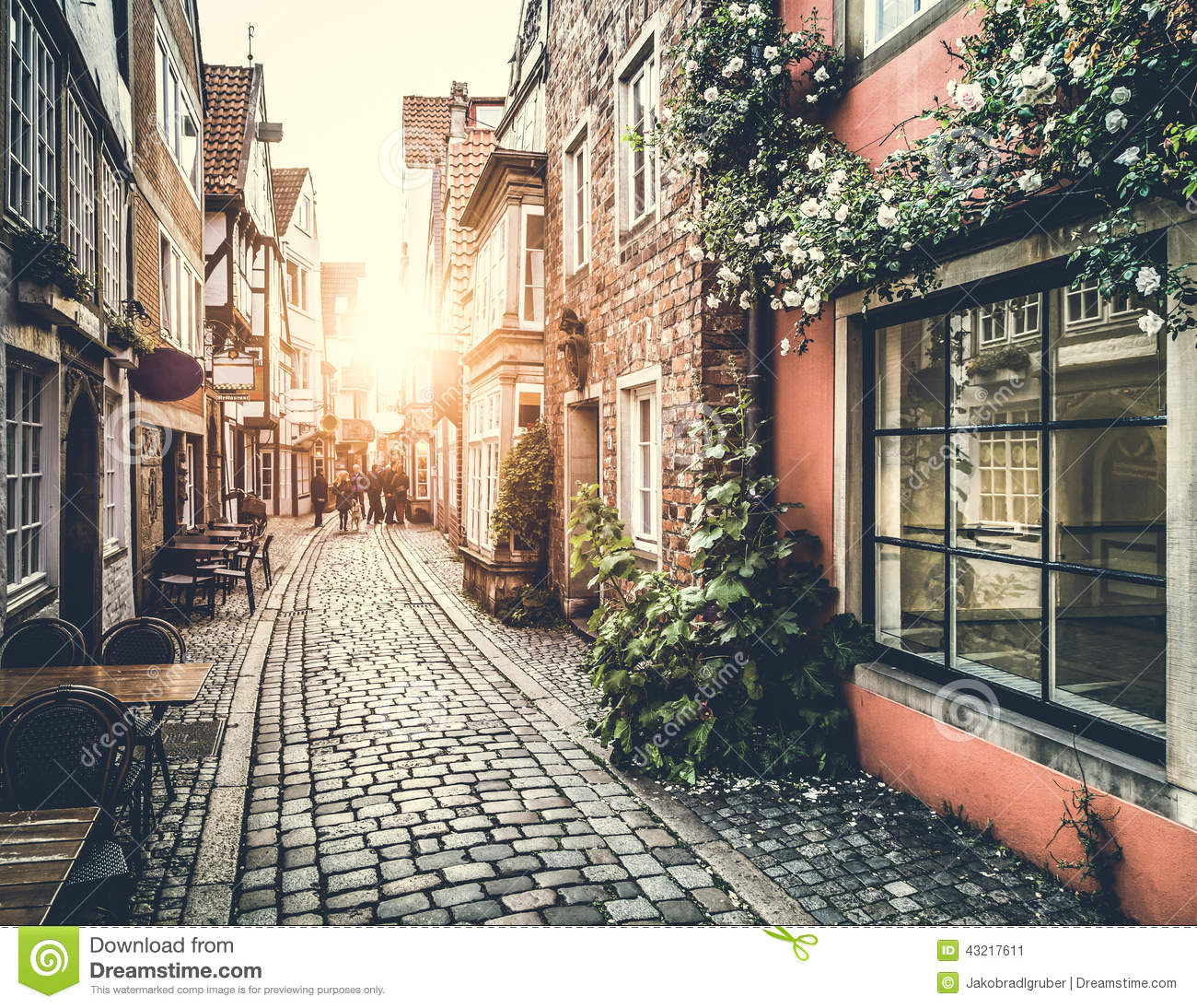 Old Town In Europe At Sunset With Vintage Effect Stock