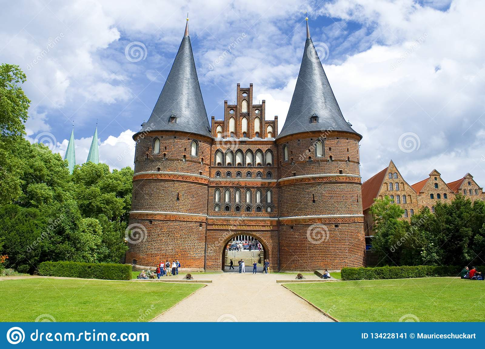 Old town gate in Lubeck Germany called Holstentor on public ground