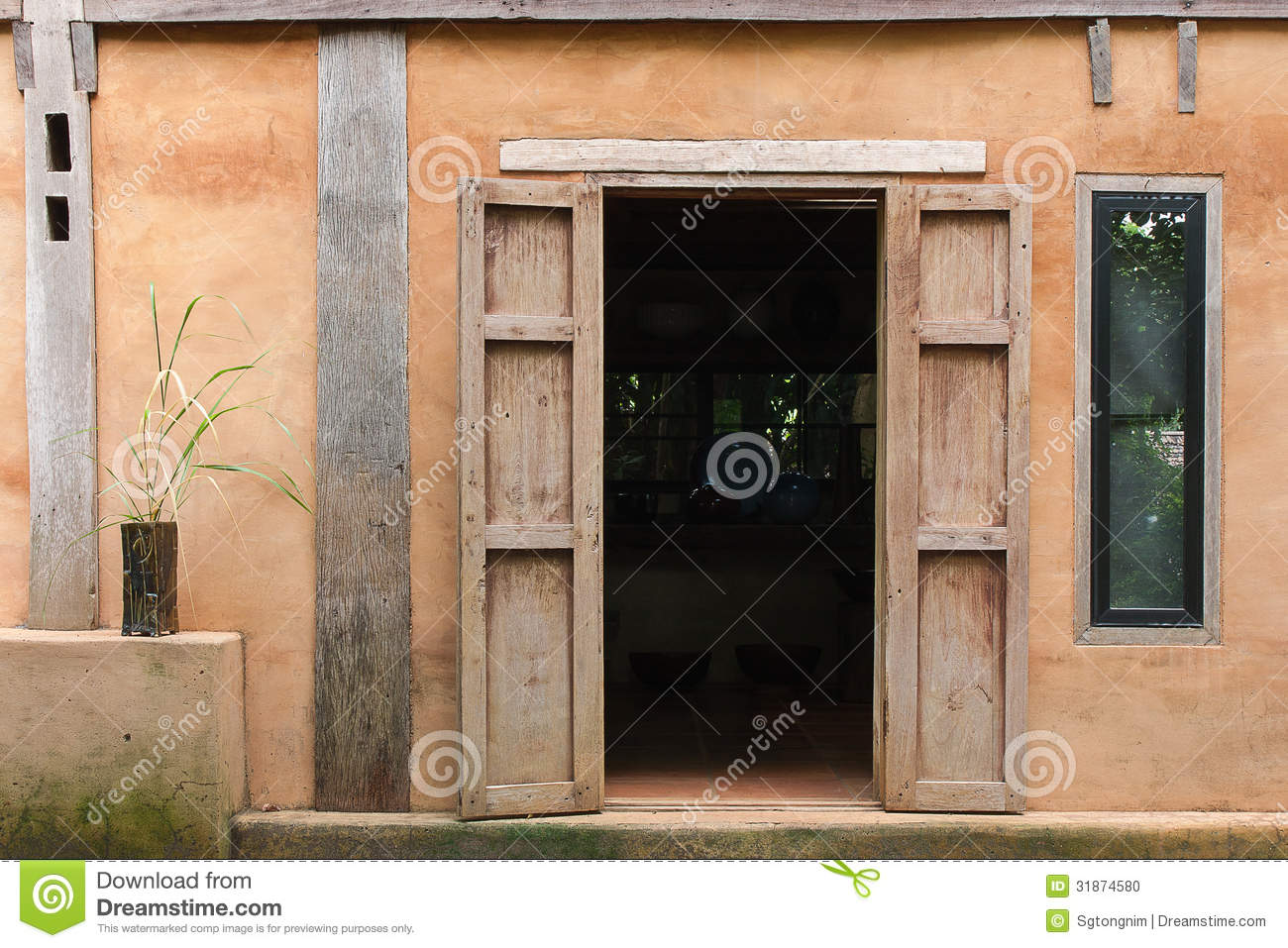 Old town house village home design stock photo image for House doors with windows