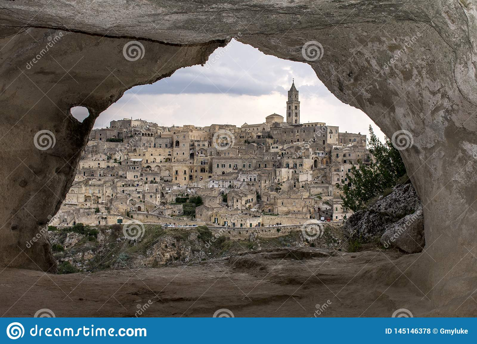 Matera from a cave.