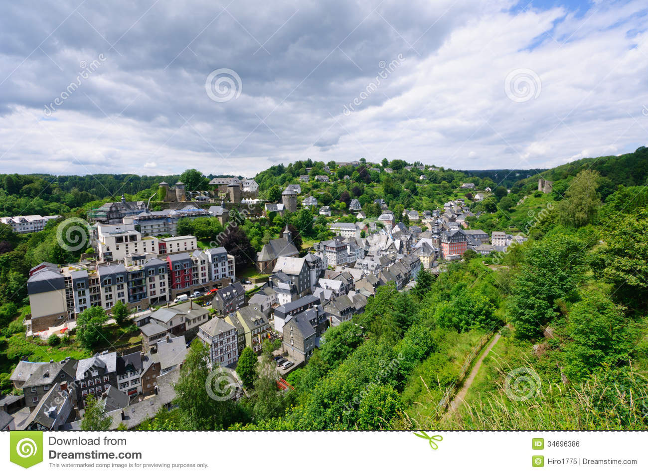 Monschau is a small resort town in the Eifel region. The historic town ...