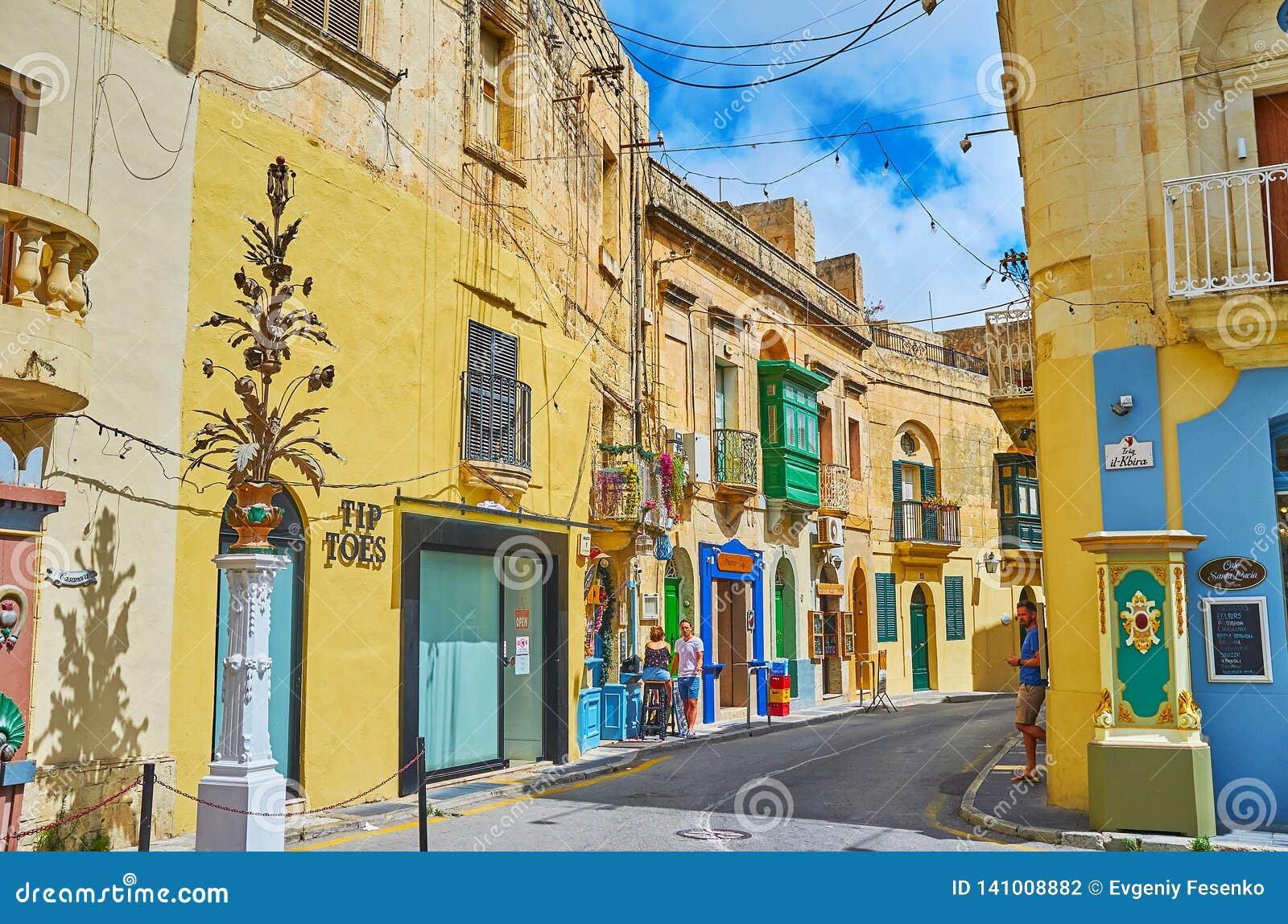 old town rabat malta rabat malta june tourist street old town many souvenir shops small cafes bars historical 141008882