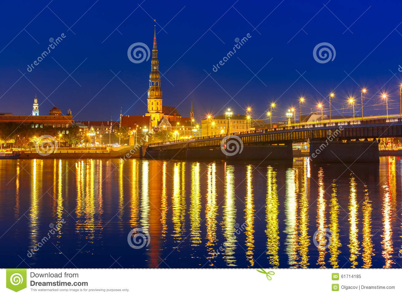 Download Old Town And River Daugava At Night, Riga, Latvia Stock Image - Image of european, lighting: 61714185