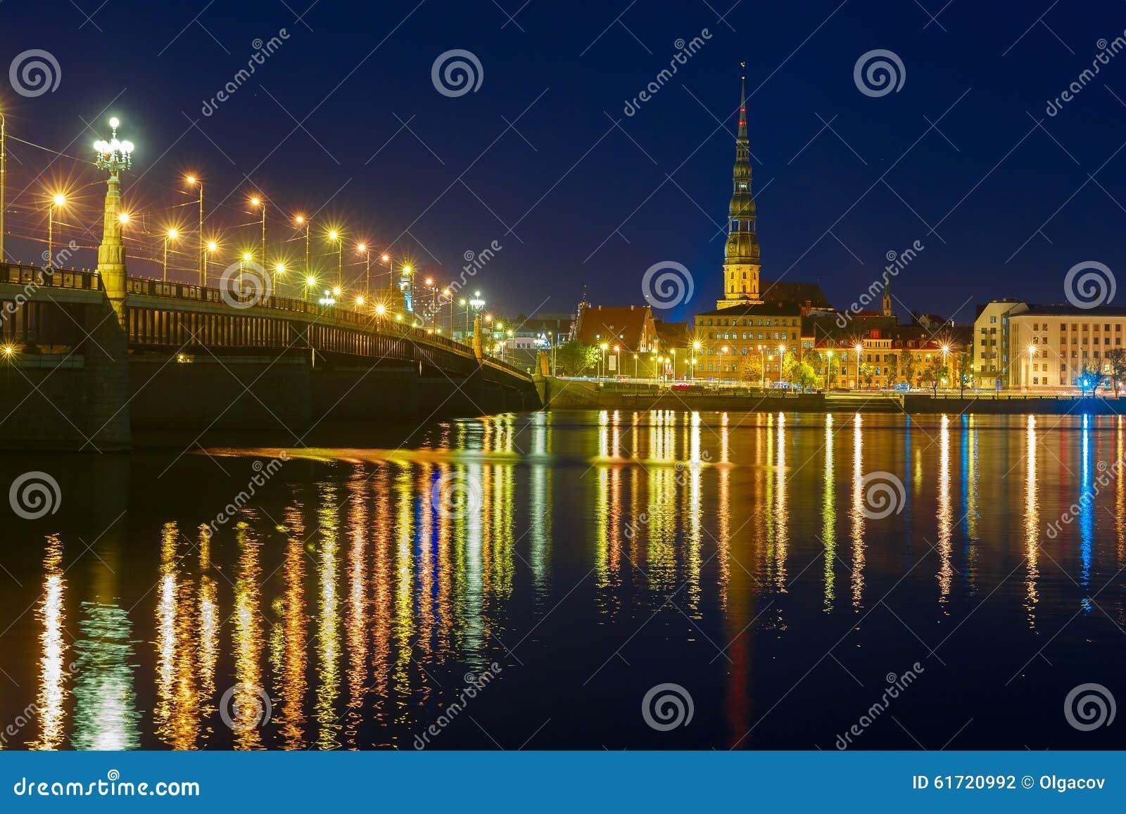 Download Old Town And River Daugava At Night, Riga, Latvia Stock Photo - Image of bridge, europe: 61720992