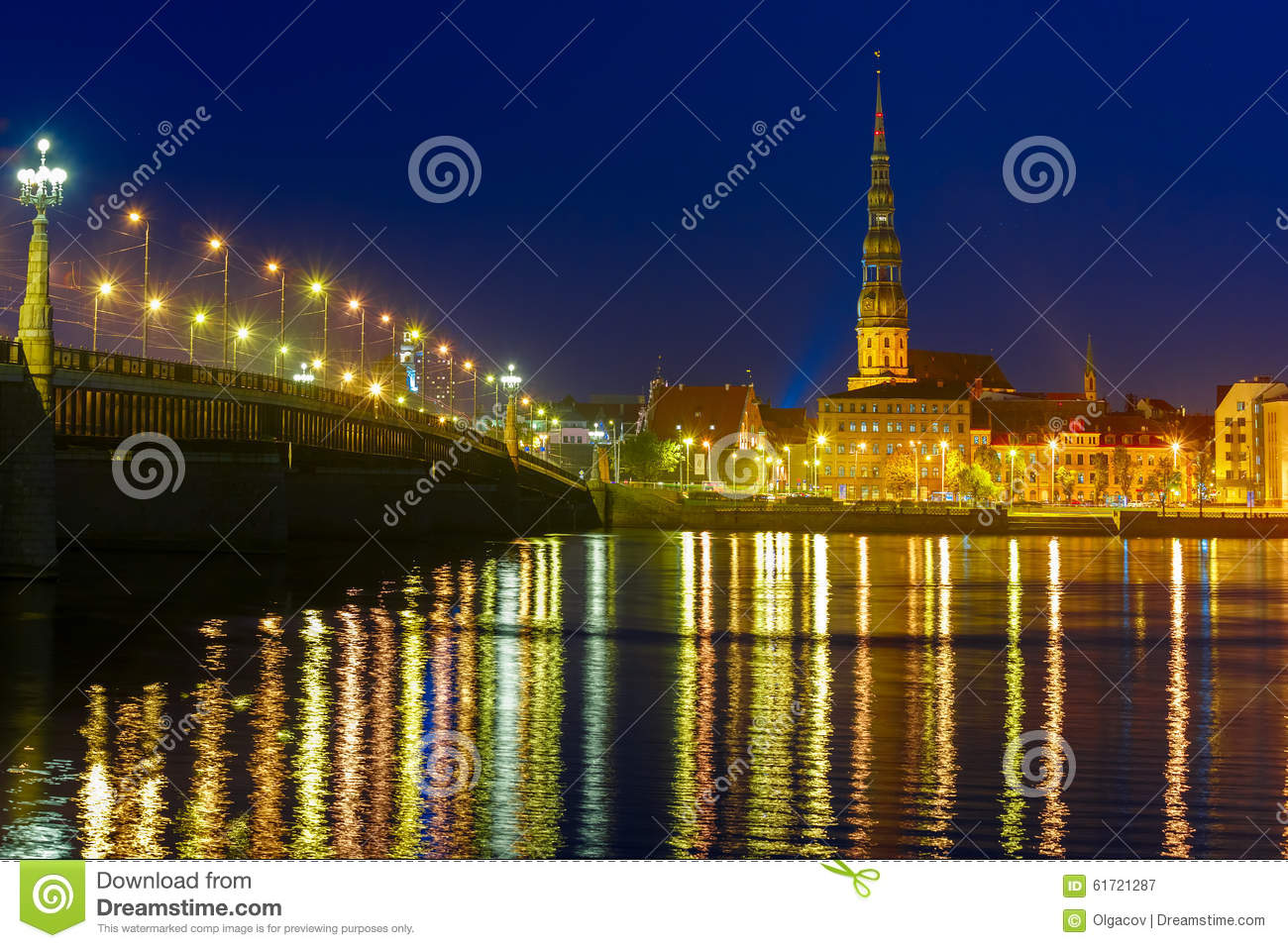 Download Old Town And River Daugava At Night, Riga, Latvia Stock Image - Image of baltic, bridge: 61721287