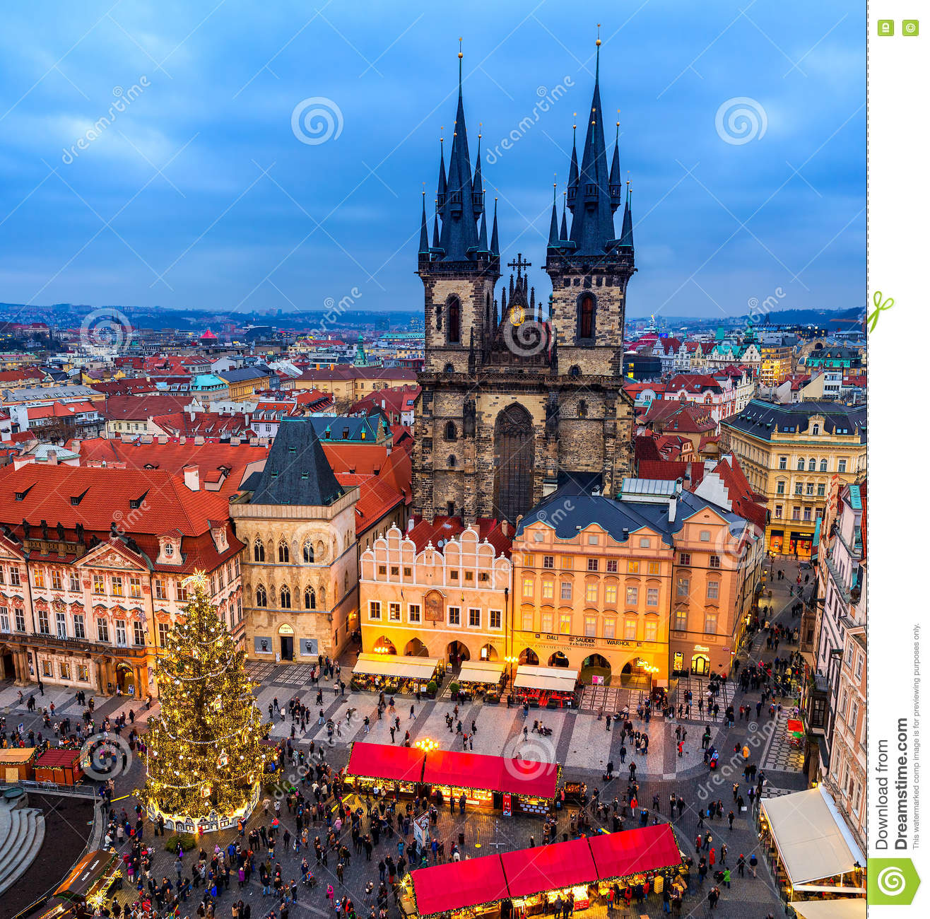 Old Town Square and Christmas market in Prague, Czech Republic.