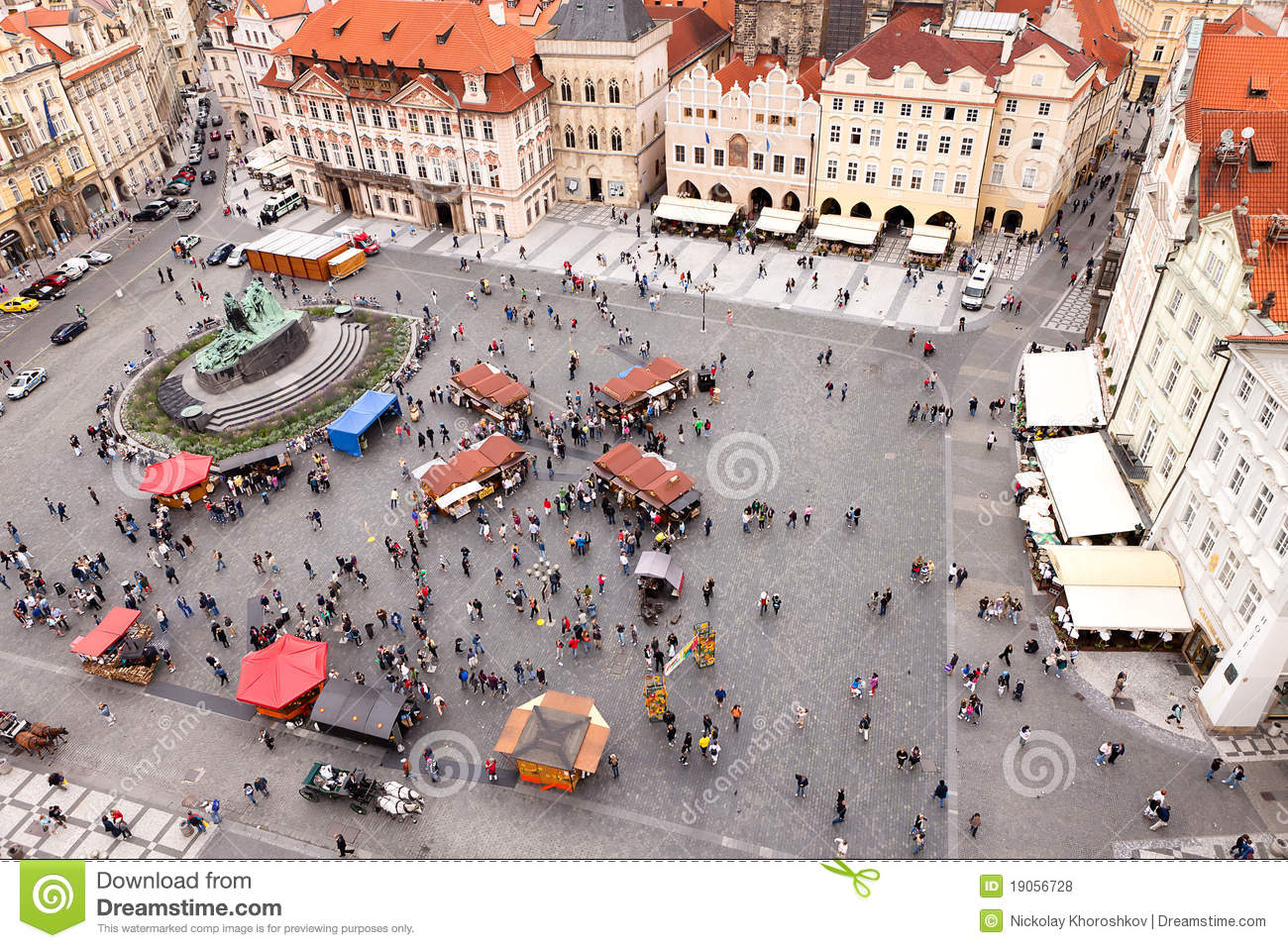 Old Town Square With A People Stock Photo Image Of Area