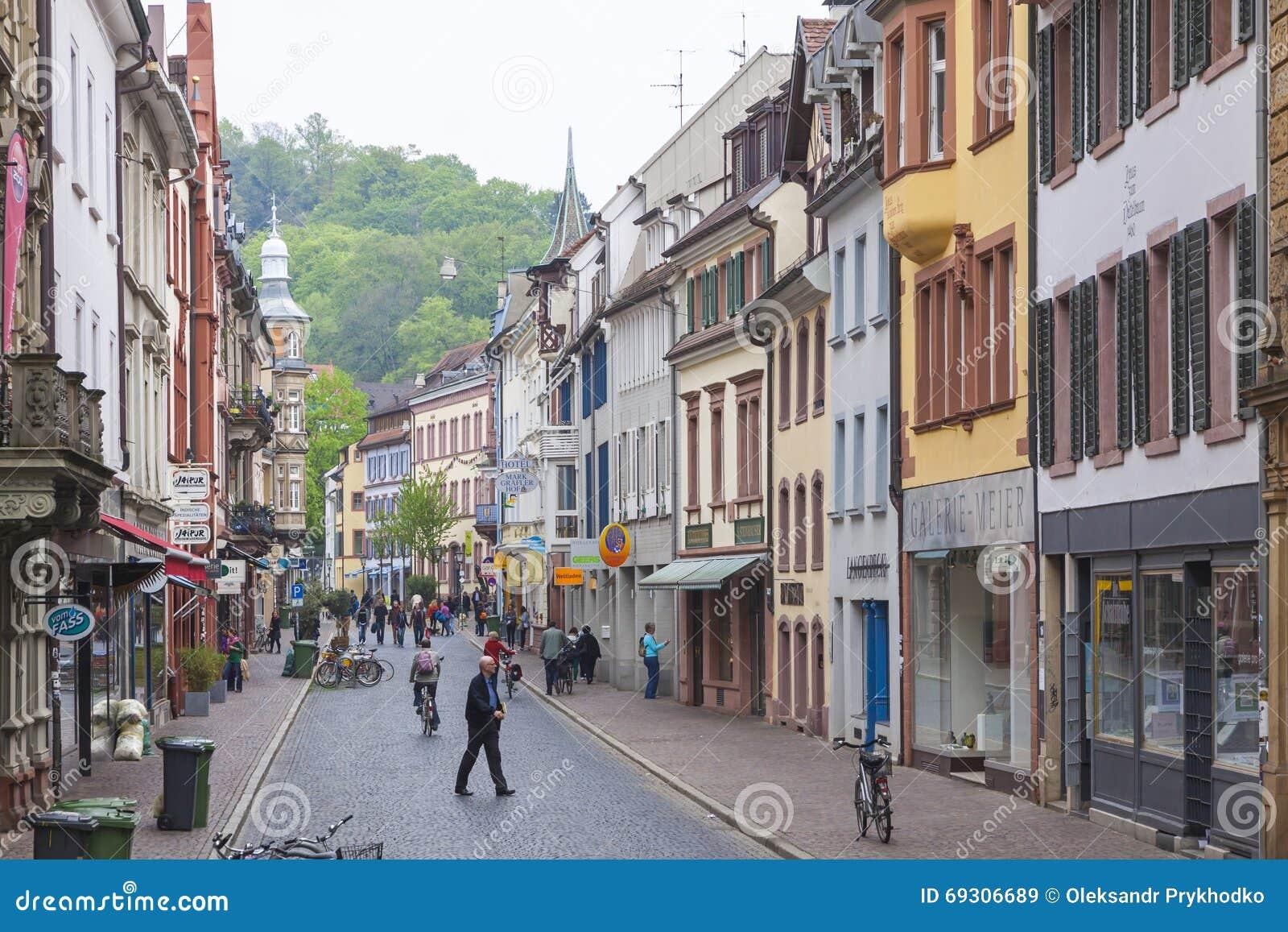 Old Town Street In Freiburg Im Breisgau City Germany