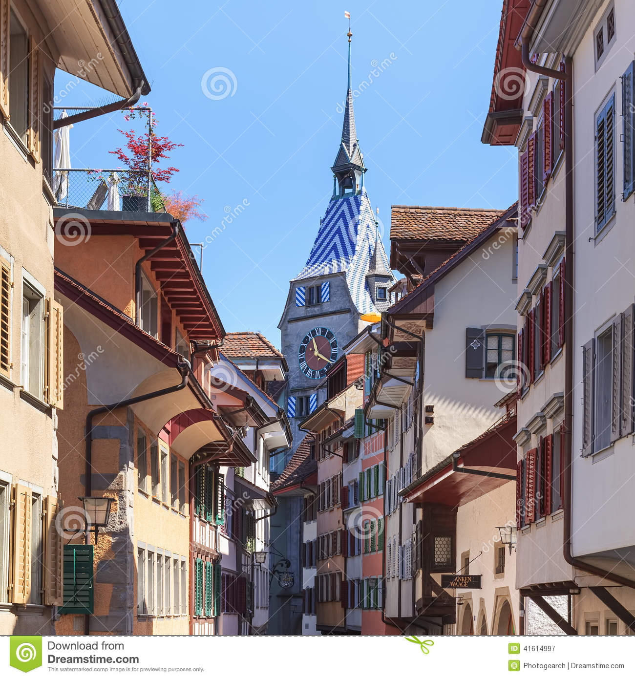 Old Town Street In Zug City Editorial Photography - Image of clock ...