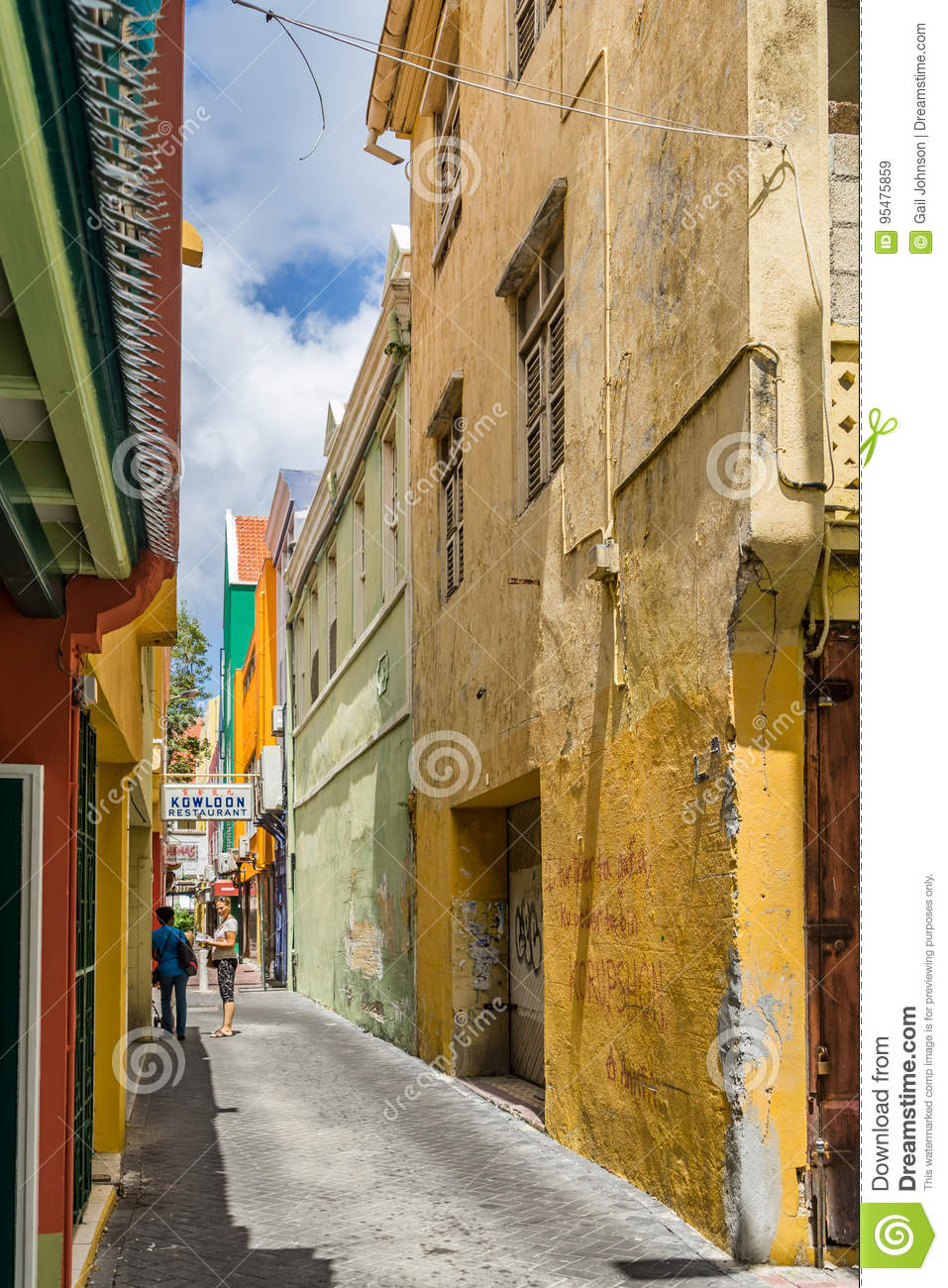 Old town streets punda curacao views editorial stock Small islands around the world