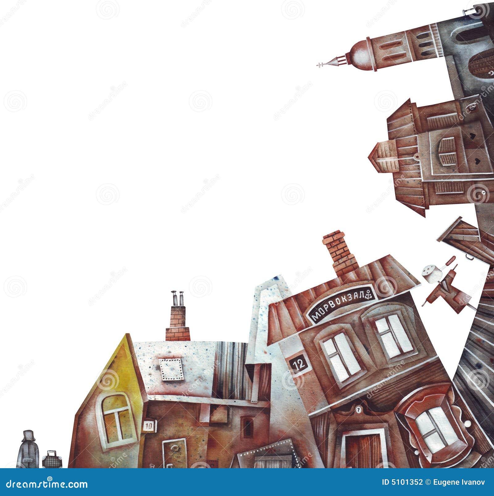 Landscape Illustration Vector Free: Old Town Or Village Landscape Stock Illustration