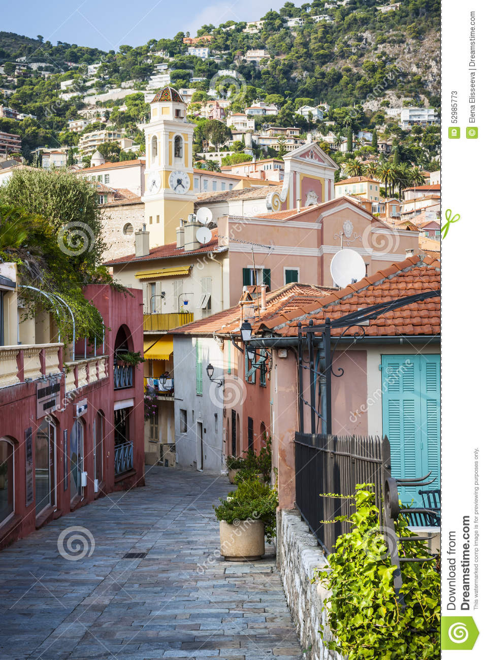 Old town in villefranche sur mer editorial stock photo for Piscine villefranche