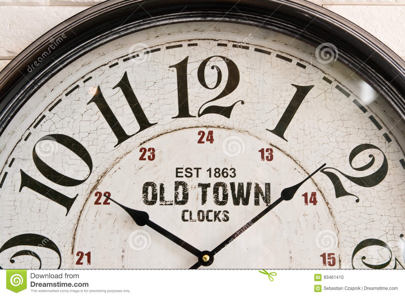 Old town wall clock face