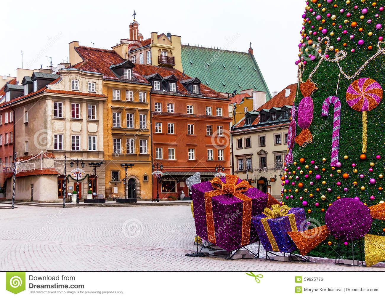 Old Town Of Warsaw With Medieval Houses Christmas Tree Gifts  - Medieval Christmas Tree