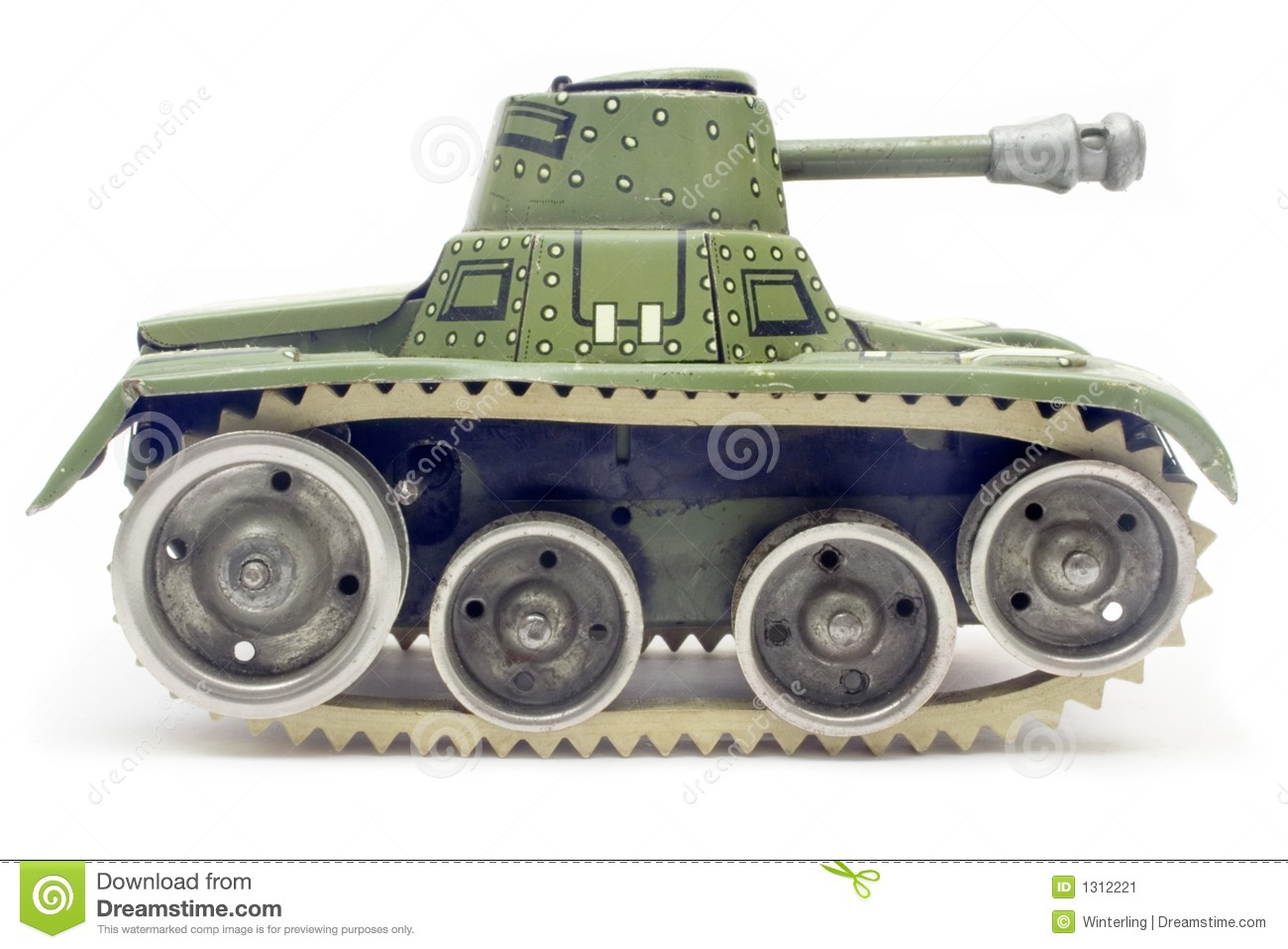 Old Toy Tank (Side View) Stock Image - Image: 1312221