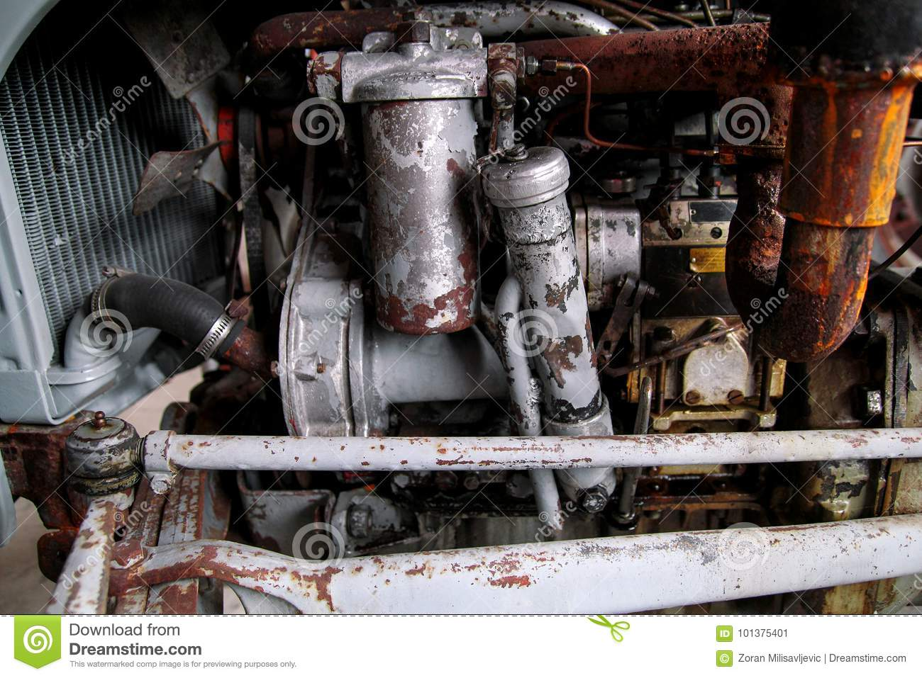 Old tractor engine stock image  Image of antique, farm