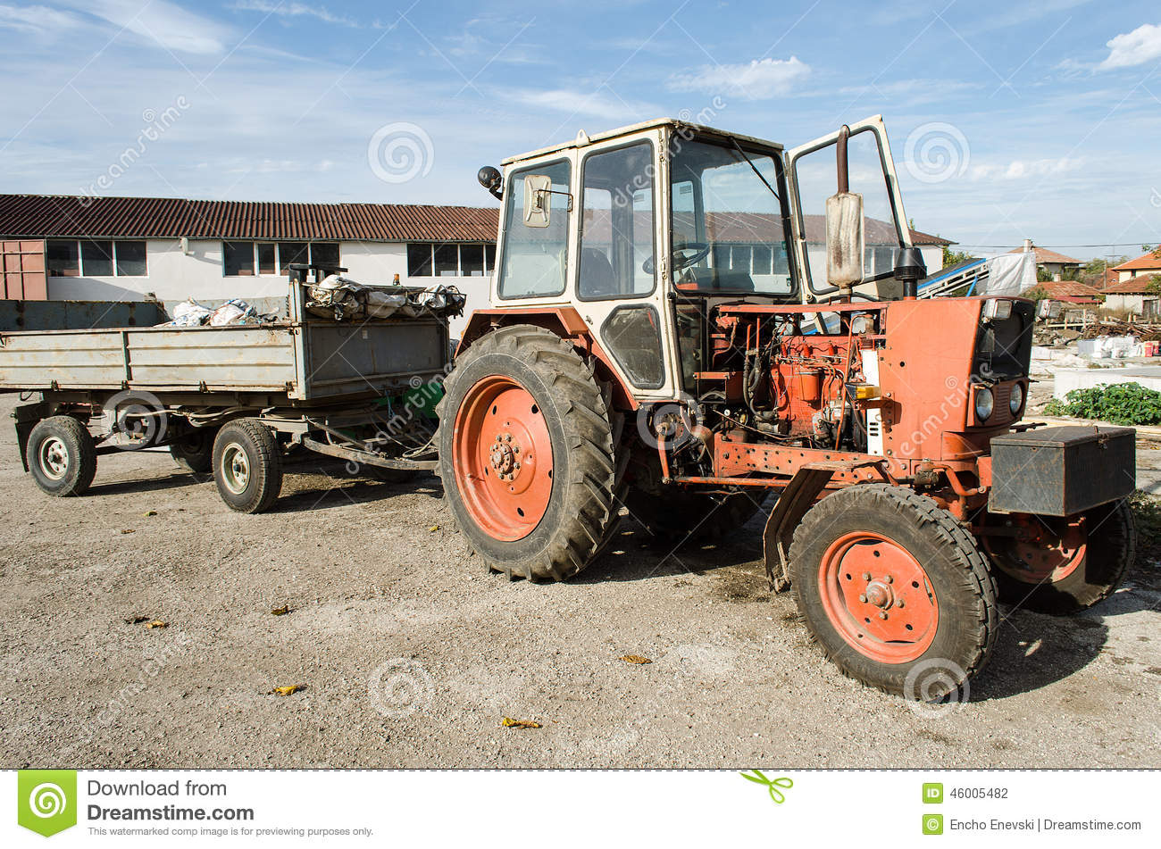 Small Tractor Cartoon : Old abandoned small farm tractor stock photography