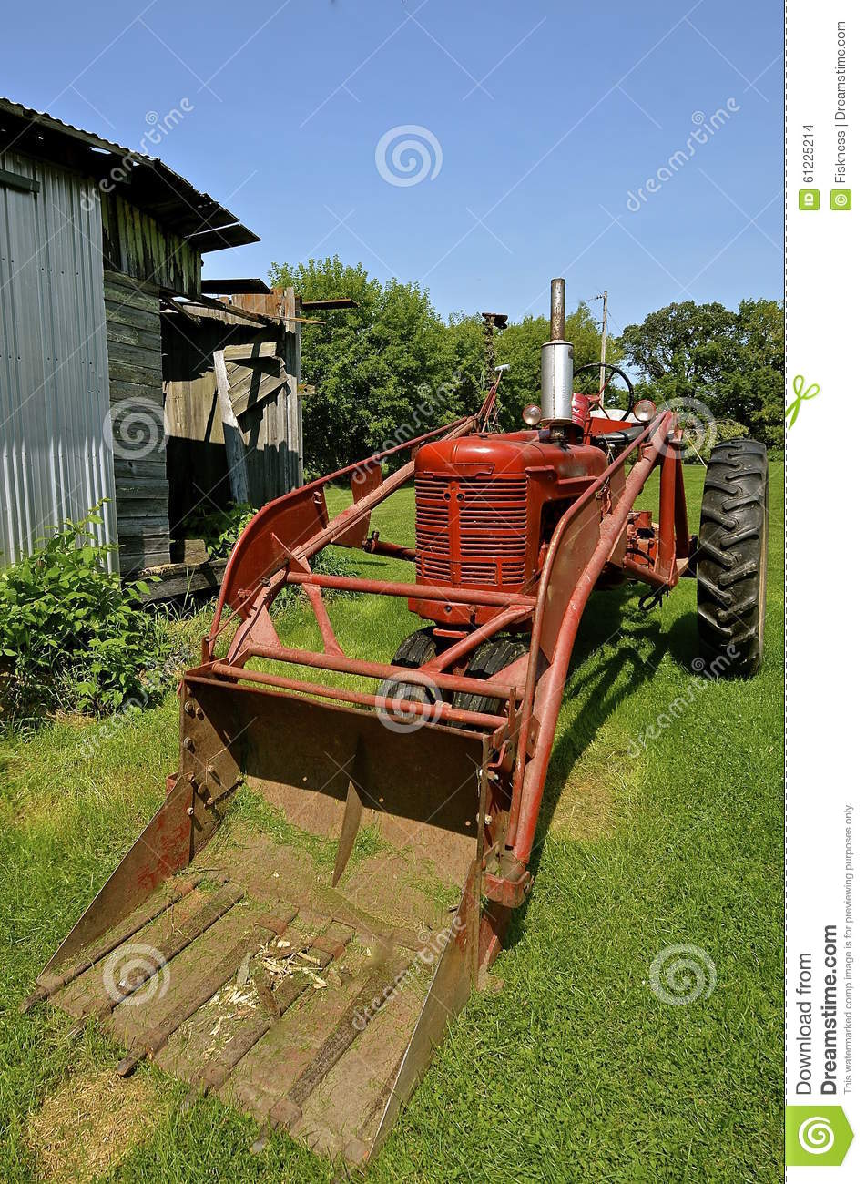 Vintage Tractor Front Loader : Old tractor with front end loader stock photo image of