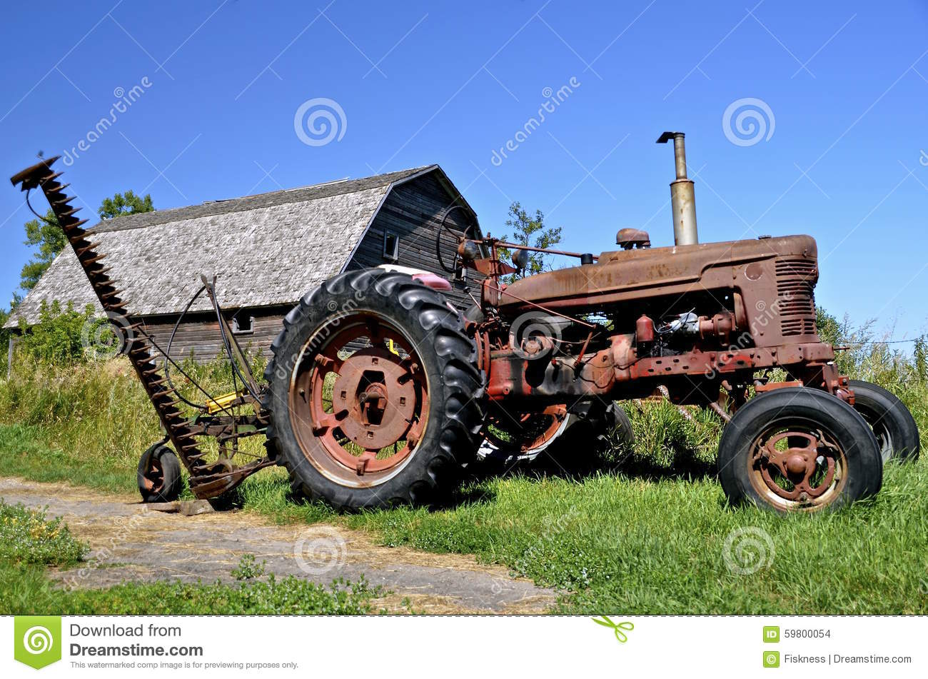 Old tractor with hay mower stock photo  Image of abandoned