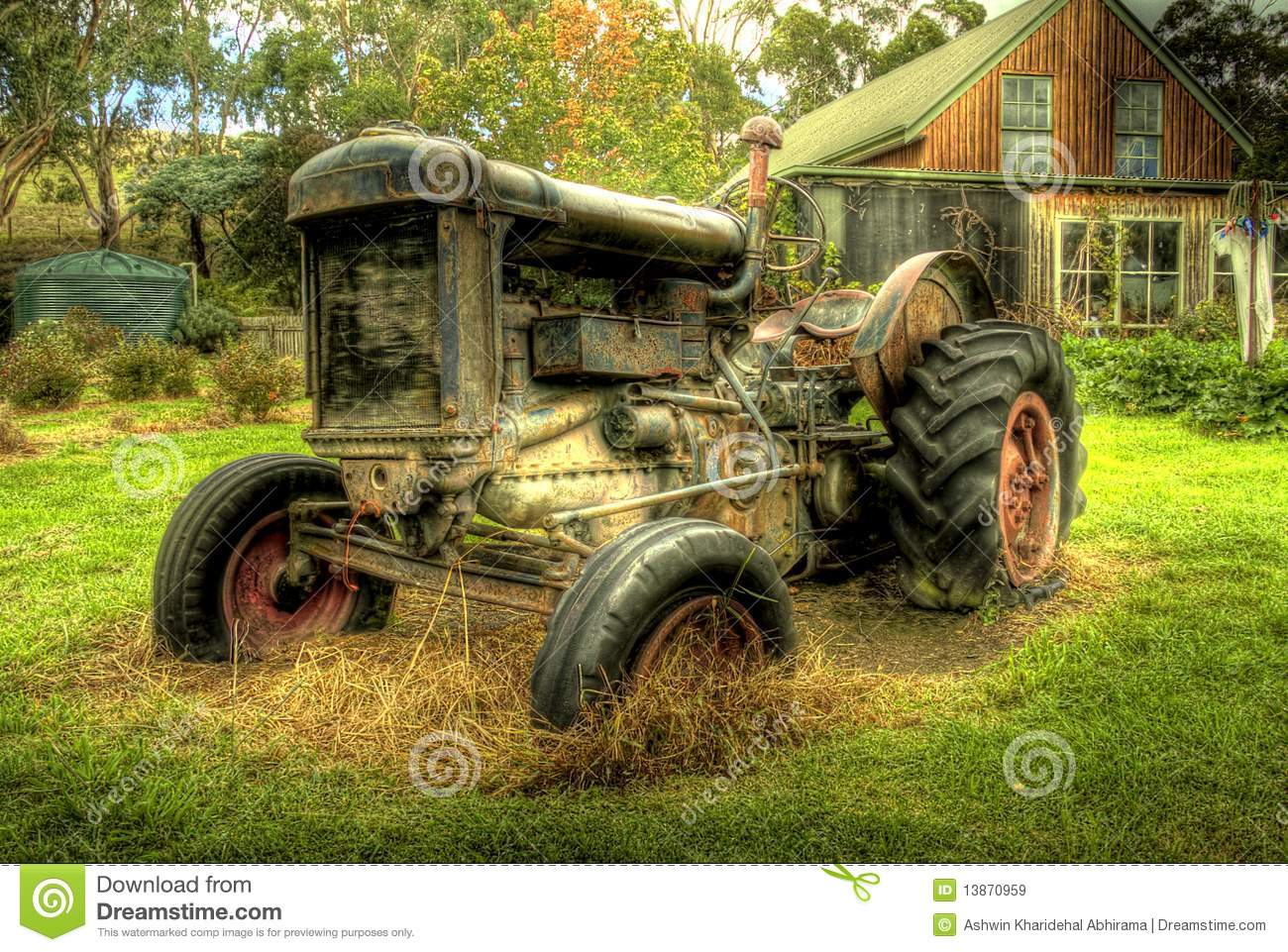 Old Time Tractor Seats : An old tractor in hdr stock image of cloud outdoor