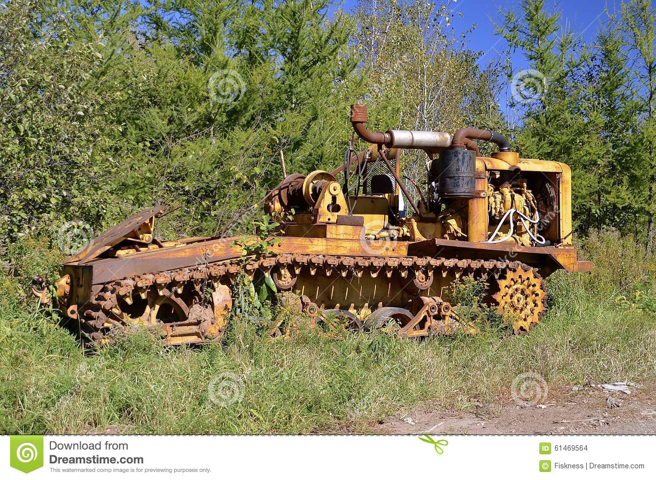 Old Tractor With Tracks : Old tractor log crawler on tracks stock photo image