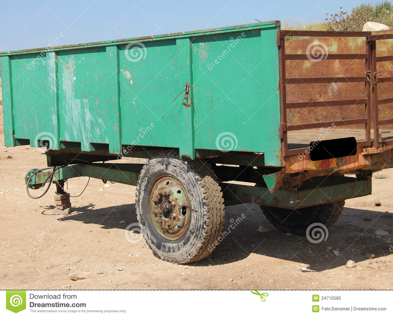 Tractor Trailer Stock : Old tractor trailer stock photo image